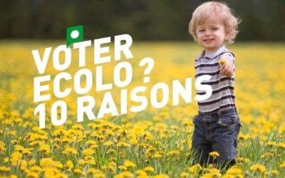 Le top 10 des raisons de voter ECOLO